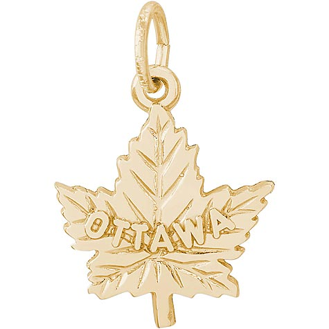 14K Gold Ottawa Maple Leaf Charm by Rembrandt Charms