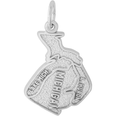 14K White Gold Michigan Charm by Rembrandt Charms