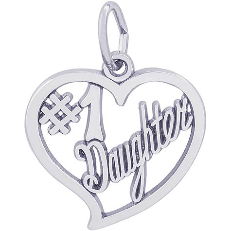 Sterling Silver Number One Daughter Charm by Rembrandt Charms