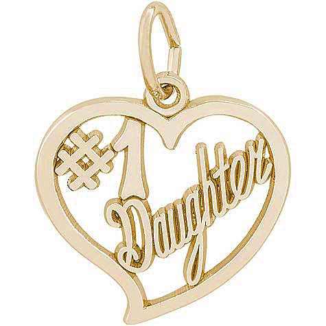 14k Gold Number One Daughter Charm by Rembrandt Charms