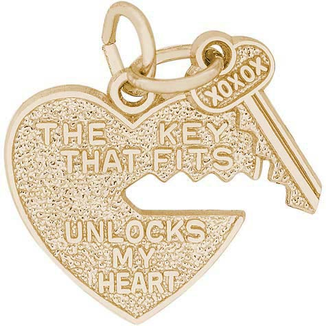 14k Gold Key and Heart Charm by Rembrandt Charms