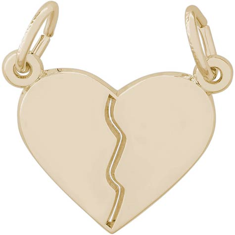 14k Gold Breaks Apart Heart Charm by Rembrandt Charms