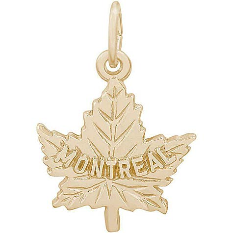14K Gold Montreal Maple Leaf Charm by Rembrandt Charms