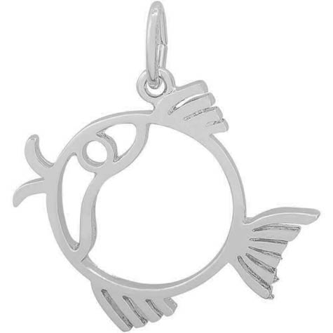 14K White Gold Flat Fish Charm by Rembrandt Charms