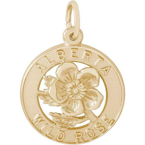 14K Gold Alberta Canada Wild Rose Charm by Rembrandt Charms