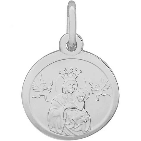 14K White Gold Madonna and Child Accent Charm by Rembrandt Charms
