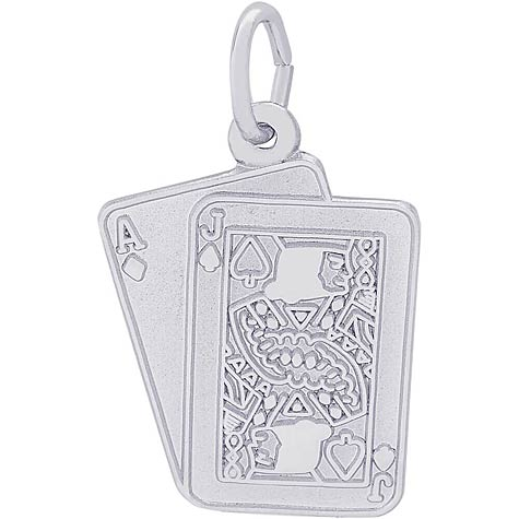 Sterling Silver Black Jack Cards Charm by Rembrandt Charms