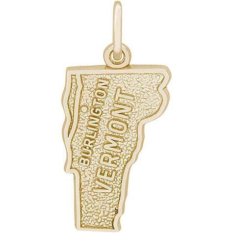 14K Gold Burlington, Vermont Charm by Rembrandt Charms