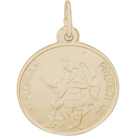 Gold Plated Saint Florian Disc Charm by Rembrandt Charms