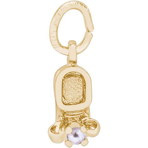 Gold Plate Pearl Baby Bootie Accent Charm by Rembrandt Charms