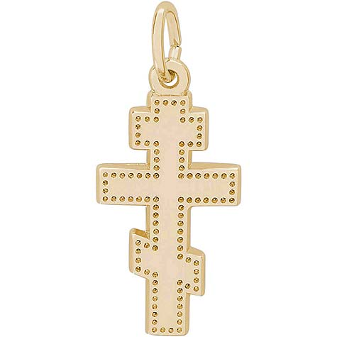 14K Gold Orthodox Cross Charm by Rembrandt Charms