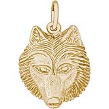 Gold Plate Wolf Head Charm by Rembrandt Charms