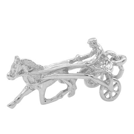 14K White Gold Horse Trotter Charm by Rembrandt Charms