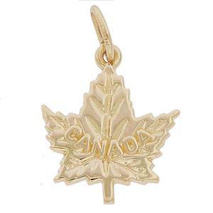 10K Gold Canada Maple Leaf Charm by Rembrandt Charms