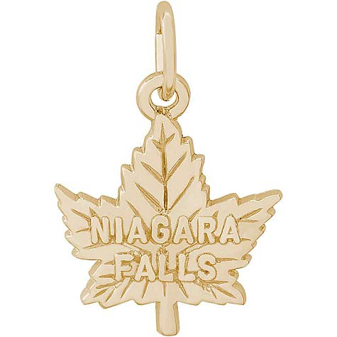 10K Gold Niagara Falls Maple Leaf Charm by Rembrandt Charms