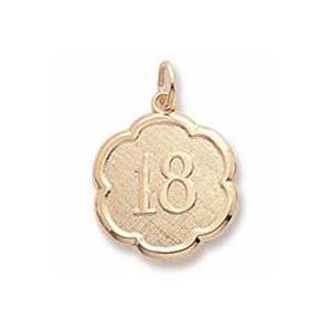10K Gold Number Eighteen Scalloped Charm by Rembrandt Charms