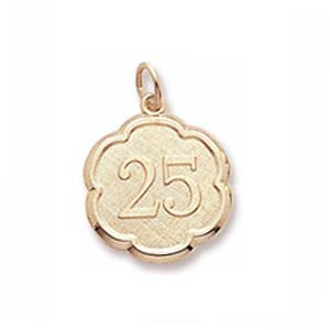 14K Gold Number 25 Scalloped Disc Charm by Rembrandt Charms
