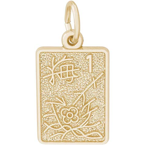Gold Plated Mahjong Tile Charm by Rembrandt Charms