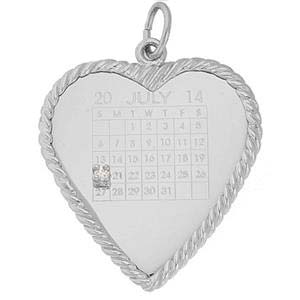 Sterling Silver Diamond Heart Calendar Charm by Rembrandt Charms