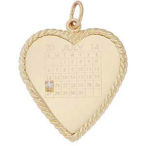 14K Gold Diamond Heart Calendar Charm by Rembrandt Charms