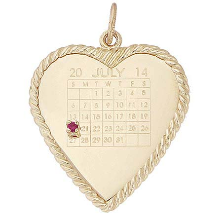 Gold Plated Birthstone Heart Calendar by Rembrandt Charms