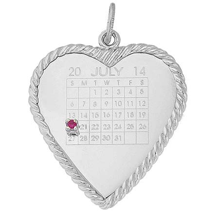 14k White Gold Birthstone Heart Calendar by Rembrandt Charms