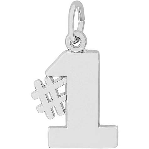 14K White Gold Number One Charm by Rembrandt Charms