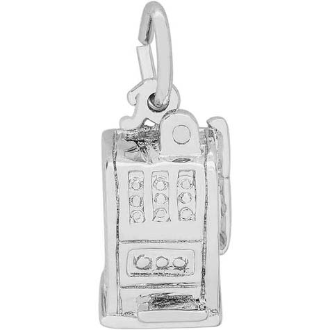 14K White Gold Las Vegas Slot Machine Charm by Rembrandt Charms