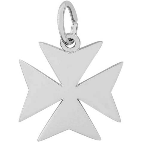 14K White Gold Maltese Cross Charm by Rembrandt Charms