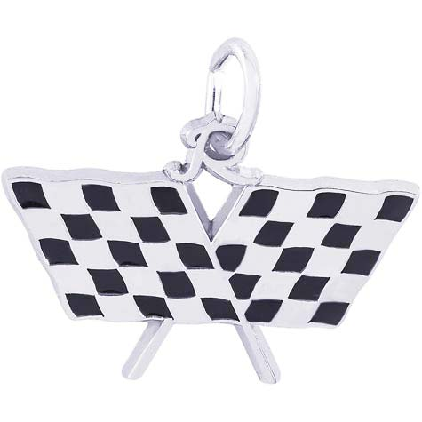14K White Gold Racing Flags Charm by Rembrandt Charms