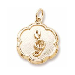10K Gold Treble Clef Scalloped Charm by Rembrandt Charms