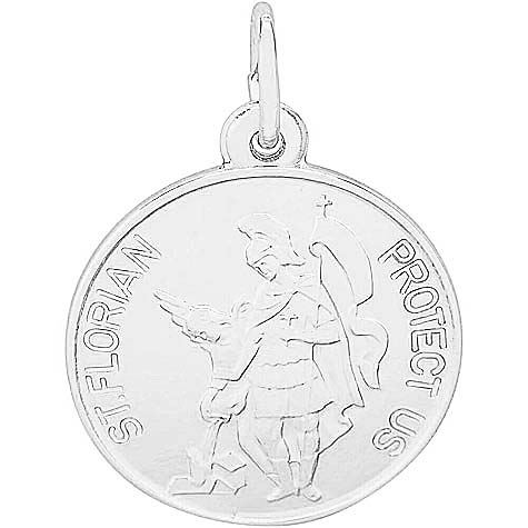 14K White Gold Saint Florian Disc Charm by Rembrandt Charms
