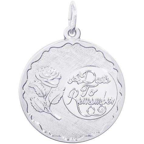 Sterling Silver A Date To Remember Rose Charm by Rembrandt Charms