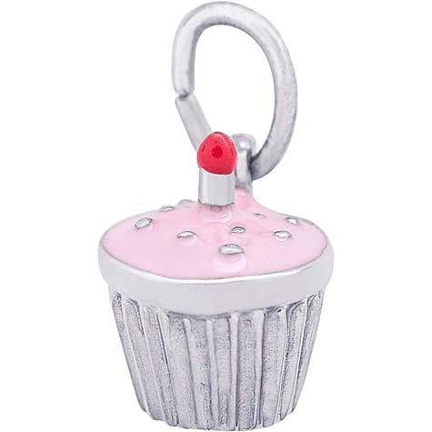 14k White Gold Pink Cupcake