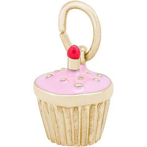 14k Gold Pink Cupcake