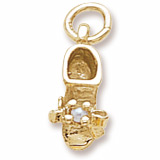 10K Gold Pearl Baby Bootie Accent Charm by Rembrandt Charms