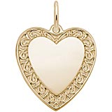10K Gold Scrolled Classic Heart Charm by Rembrandt Charms