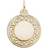 Gold Plated Ornate Round Disc Charm by Rembrandt Charms