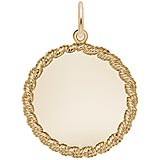 Gold Plated Medium Twisted Rope Disc Charm by Rembrandt Charms