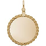 Gold Plated Large Twisted Rope Disc Charm by Rembrandt Charms
