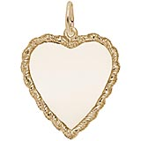 Gold Plated Large Twisted Rope Heart Charm by Rembrandt Charms