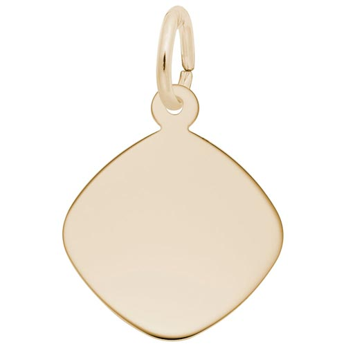14K Gold Small Square Disc Charm by Rembrandt Charms