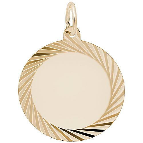 14K Gold Large Faceted Disc Charm by Rembrandt Charms