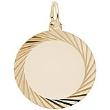 Gold Plated Large Faceted Disc Charm by Rembrandt Charms