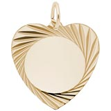 14K Gold Large Faceted Heart Charm by Rembrandt Charms
