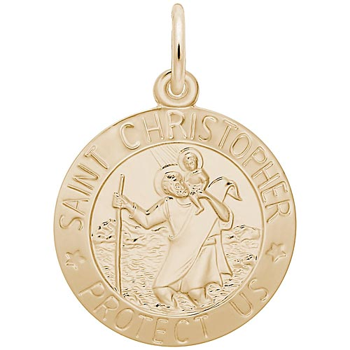 Gold Plate Saint Christopher Disc Charm by Rembrandt Charms