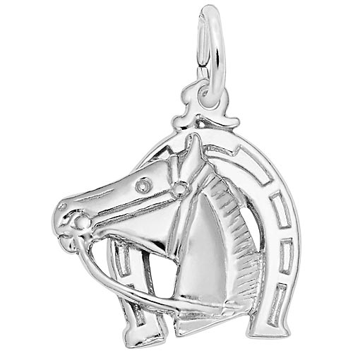 Sterling Silver Horse Head with Horseshoe Charm by Rembrandt Charms