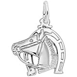 14K White Gold Horse Head with Horseshoe Charm by Rembrandt Charms