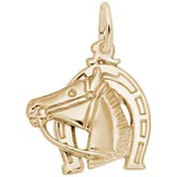 Gold Plate Horse Head with Horseshoe Charm by Rembrandt Charms