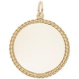 Gold Plated Medium Rope Disc Charm by Rembrandt Charms